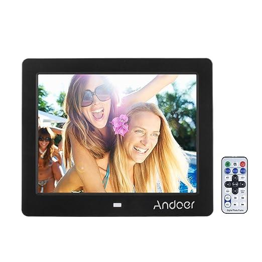 Marco Digital para Fotos y vídeos Andoer 8 TFT-LCD (1024 * 768) Pantalla de Alta Soporte Reproductor Video MP3 MP4 Reloj Electrónico Calendario con Control ...