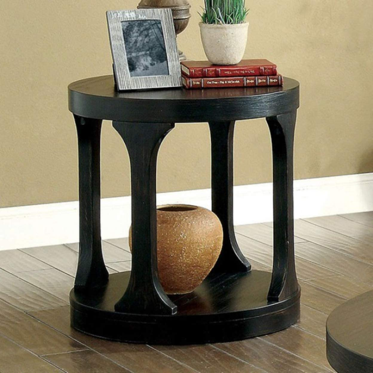 Furniture of America CM4422E Carrie Antique Black End/Side/Nesting Tables