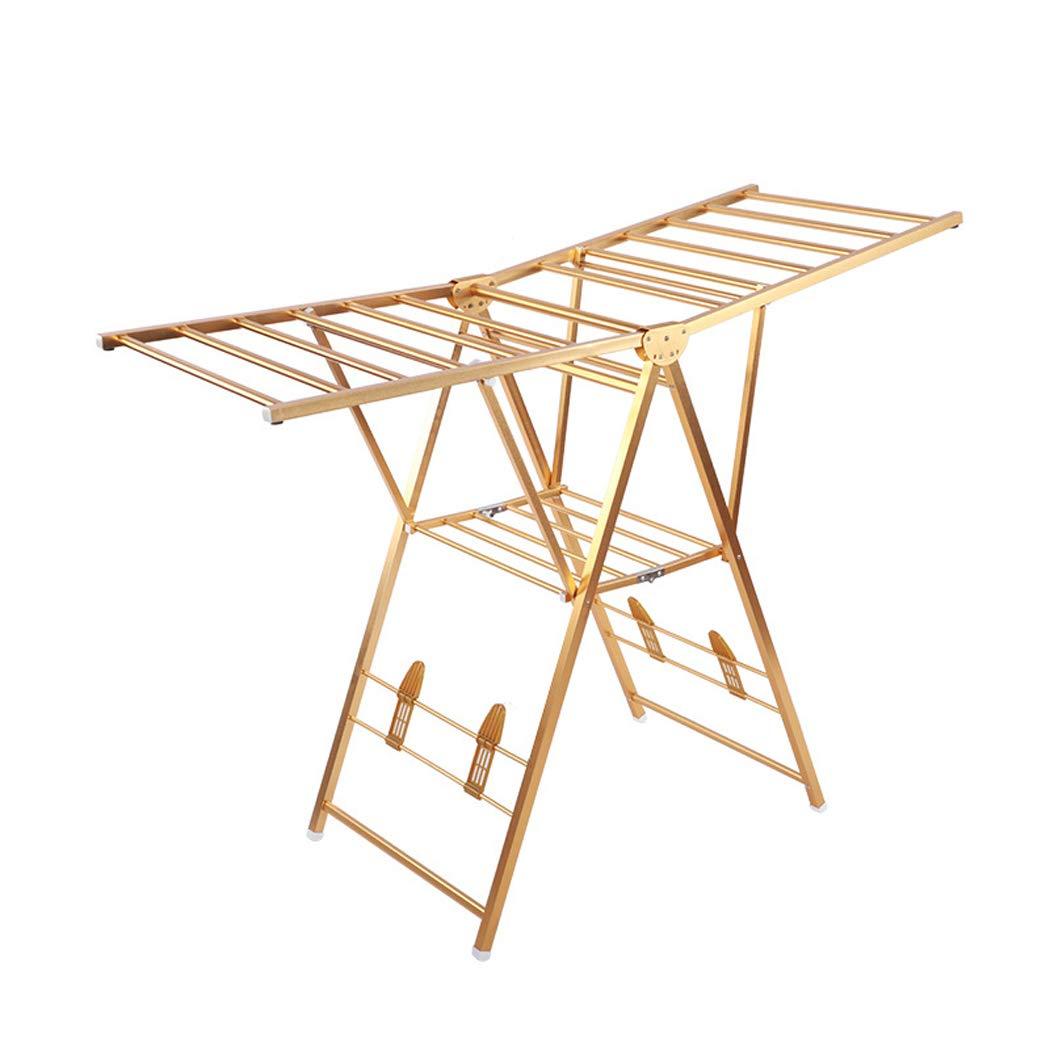 折りたたみ式衣類乾燥ラック2段アルミ衣服エアー付き調節可能な翼屋外屋内キルト靴乾燥ラック,Gold B07SFH8M73 Gold