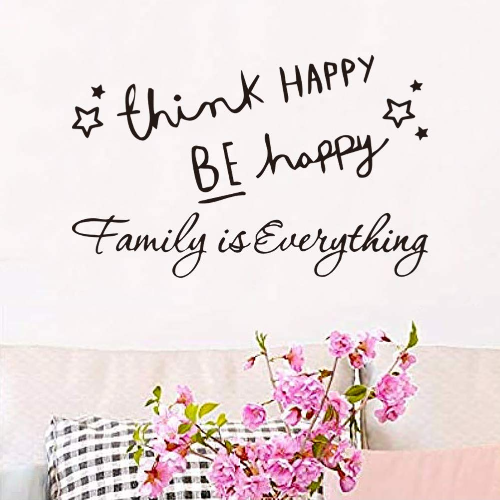 Wall Decals for Living Room Think Happy Be Happy Wall Stickers Family is Everything Cartoon Cute Design Office Inspirational Front Door Decal Home Decor Motivational Quotes Letters Vinyl Tile Sticker
