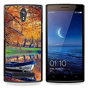 Boat Fall Autumn Leaves Lake Pond Nature Caja protectora de pl??stico duro Dise?¡Àado King Case For Oppo Find 7 X9007