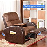 Soges Luxurious 360 Degree Swivel Rocking Manual Recliner Chair Lounge Sofa Living Room Chair Home Theater Chair, Brown 535-BR-SX