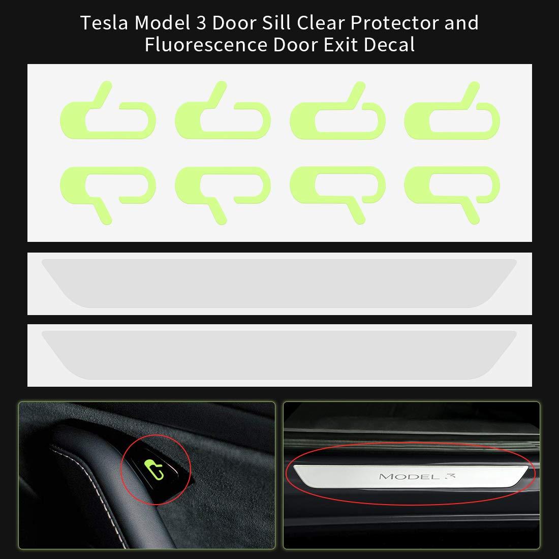 SUPAREE Tesla Model 3 Door Sill Clear Protector and Fluorescence Green Door Exit Decal Set Car Sticker for Tesla Model 3