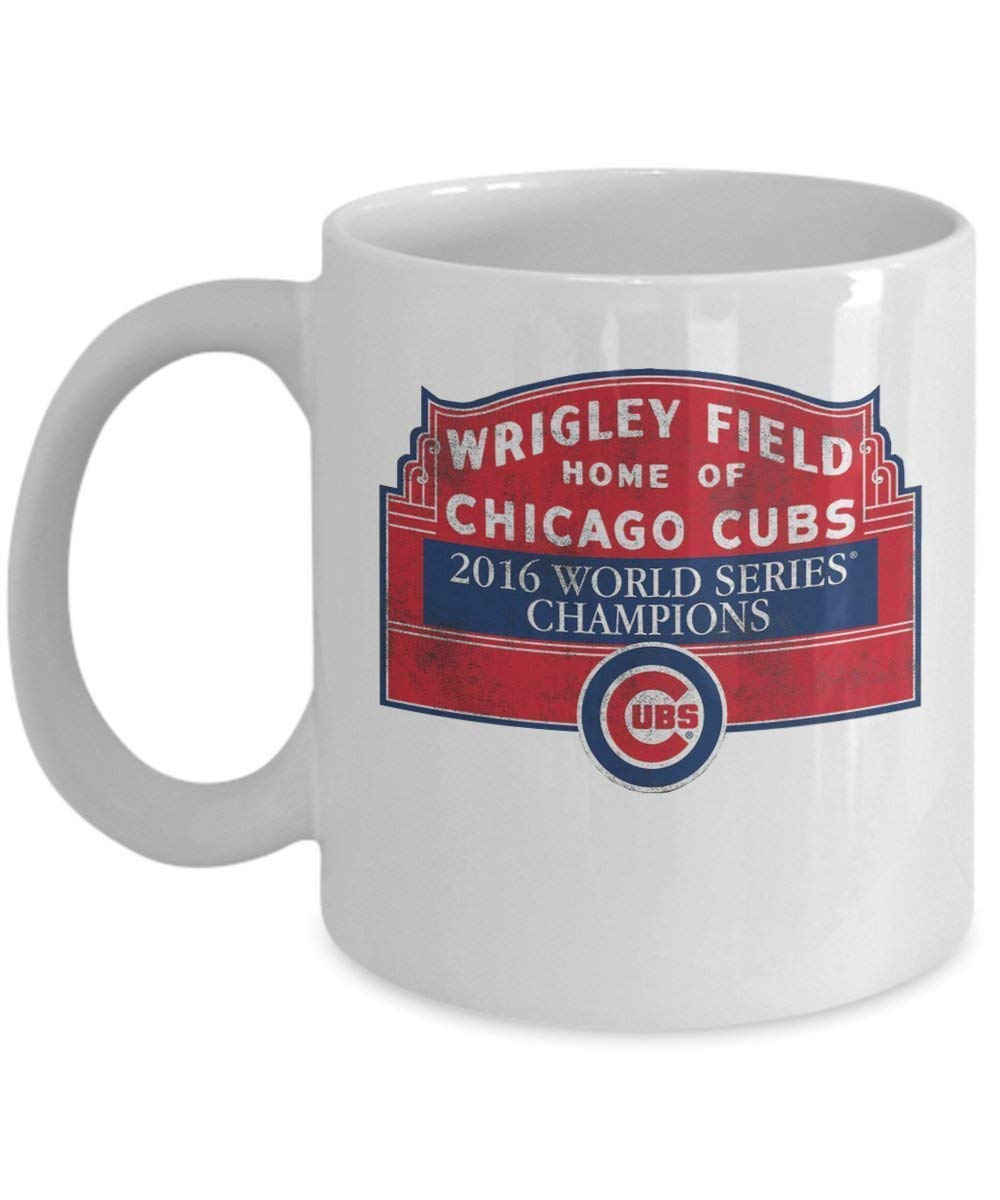 Cubs 2016 World Series Champions Coffee Mug Cup (White) 11oz Chicago Cubs Gifts Merchandise Accessories Shirt Sticker Decal Artwork Decor