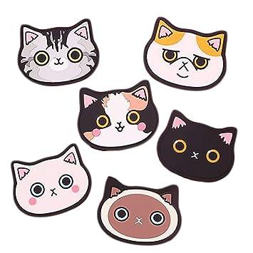 Posavasos de silicona con diseño de gato-Alfombrilla de goma para vino,vidrio,