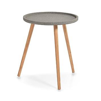 Zeller Present Gueridon Table Basse Trois Pieds Bois Plateau Gris