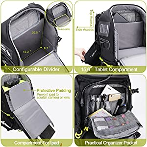 Endurax Extra Large Camera DSLR / SLR Backpack For Outdoor Hiking Trekking With 15.6 Laptop Compartment