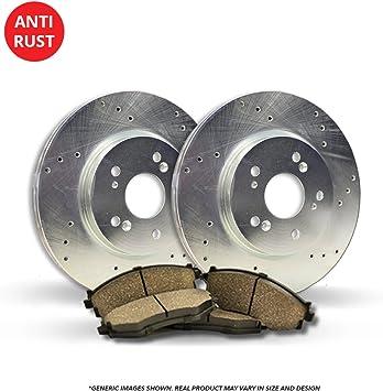 Fits:- 5lug 4 Semi-Metallic Pads 2 Black Coated Cross-Drilled Disc Brake Rotors Front Kit High-End