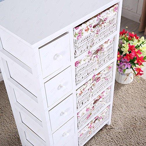 5 Drawers 5 Baskets Storage Dresser Chest Cabinet Wood