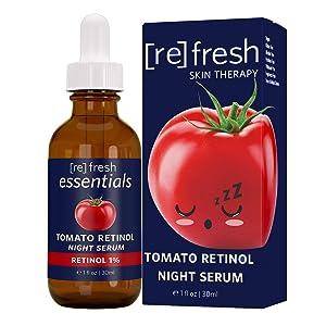 Natural Anti Aging Skin Care, Vitamin A with Antioxidants Retinol Serum, Refresh Tomato Retinol Night Serum - Refresh Essentials