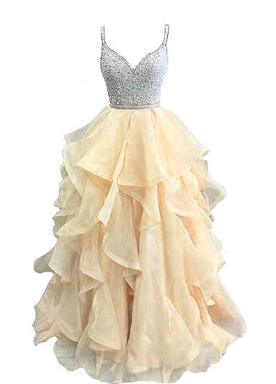 8db6b88bf8 Dresshine Women's Bling Spaghetti Ball Gown Ruffles Prom Dress at ...