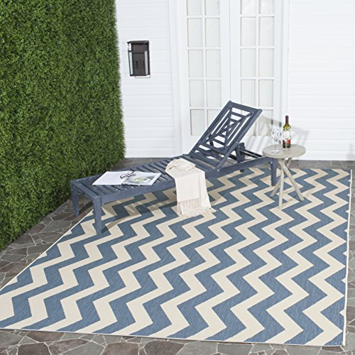 Safavieh Courtyard Collection CY6245-243 Blue and Beige Indoor/ Outdoor Area Rug (8' x 11') ()