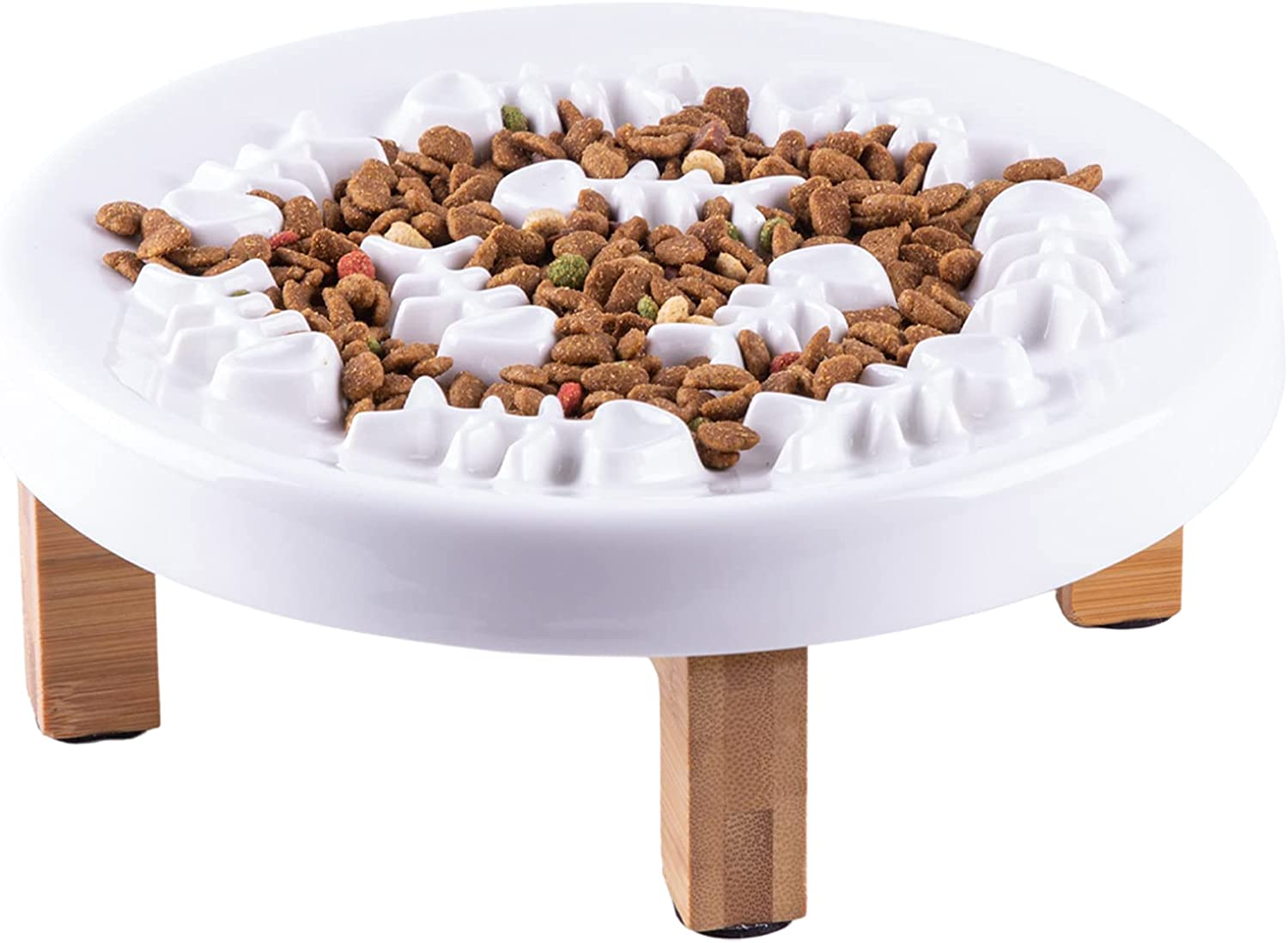 Fatcatjoy Slow Feeder Dog Bowls Cat Food Puzzle Large Ceramic Plate Bowl with Wood Stand Gobble Stopper Interactive Cat Feeder Fish Bones Insert Bowl for Slow Eating