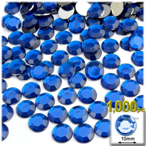 The Crafts Outlet 1000-Piece Flat Back Round Rhinestones, 10mm, Royal Blue