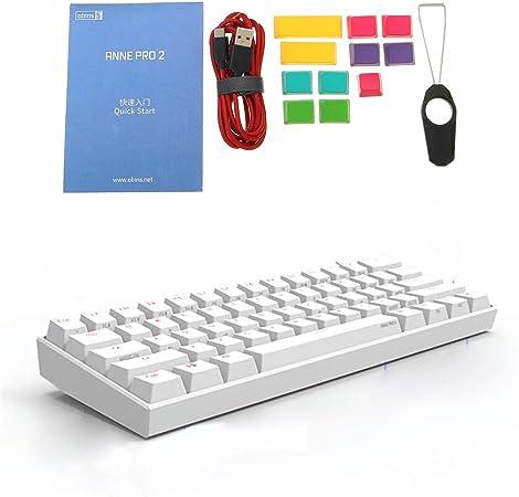 Mi Tu Teclado mecánico para Videojuegos (60% NKRO, 61 teclados, Interruptor RGB de Cereza/gaterón, Bluetooth 4.0, Tipo C), Blanco, Blue gateron Switch