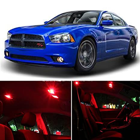 Cciyu 14 Pack Red Led Bulb Led Interior Lights Accessories Replacement Package Kit Replacement Fit For 2014 2017 Dodge Charger