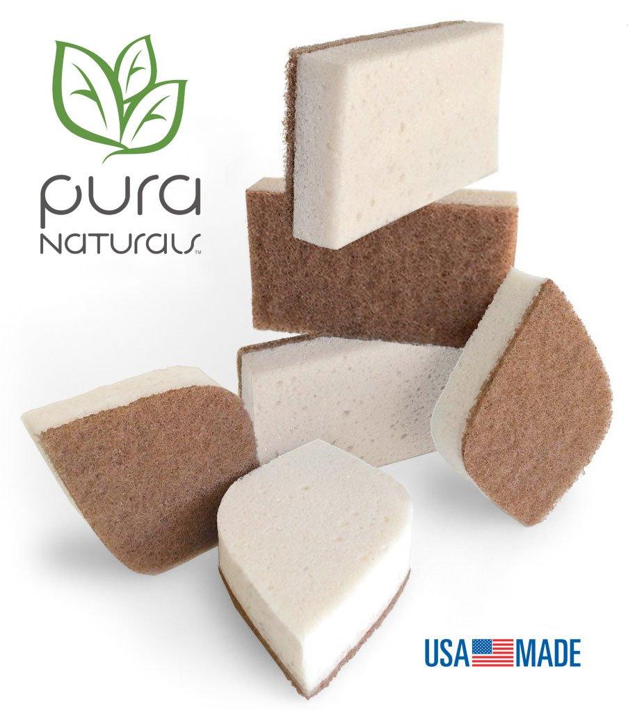 Pura Naturals Stink Free Sponge. Inhibit Bacteria. Stay Fresh NO ODOR Guarantee! Eco Kitchen/Household/Dish Sponges w/Walnut Scrubbers. 40x more durable. (12)