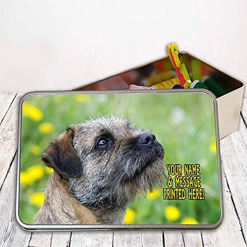 Personalised Border Terrier Dog St320 Sewing Tin Kit ~ Needles/buttons/Cotton ~ Storage Box Gift by Krafty Gifts (Terrier Button)
