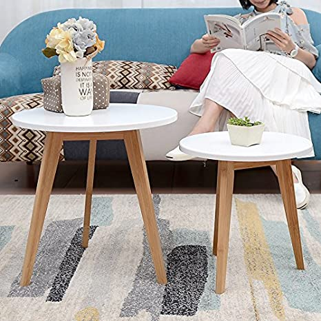 Asunflower End Table Set of 2 for Living Room, Wood Round Coffee Table,  Modern Side Tables White
