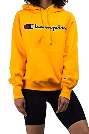 ef0066840a6 Champion Unisex Reverse Weave Chainstitch Script Cursive Spellout Logo Hoodie  Sweatshirt at Amazon Women s Clothing store