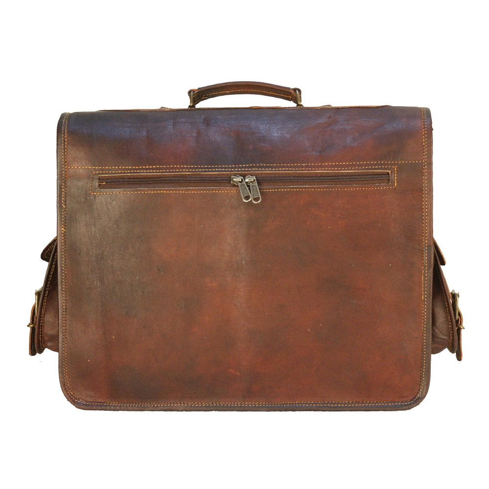 a1b3a369a Details about 15.6 inch Laptop Messenger Bag Vintage Genuine Leather  Briefcase Computer Bags