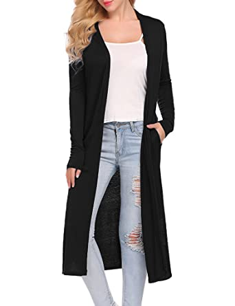 Locryz Women's Pockets Open Front Long Duster Cardigan with Slits (S, Black)