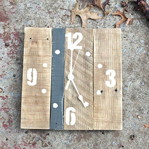 Cheap  Wood Wall Clock with Accent Stripe CHOOSE YOUR COLORS, Distressed Finished Large..