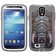 Skin Decal for Otterbox Defender Samsung Galaxy S4 Case - Aztec Elephant Head Orange