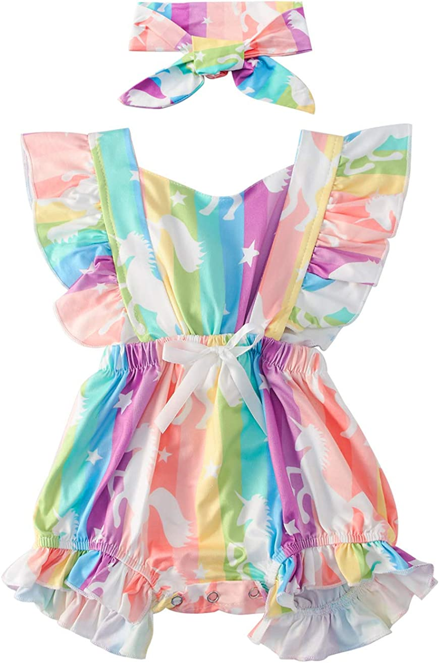 BFUSTYLE Newborn Baby Girl Floral Bodysuit Toddler Flutter Sleeve Romper Jumpsuit Outfit+Headband