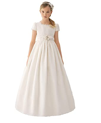 MerryGirl Vestidos de Primera comunión de Raso para niña Vestido de niña de Flores de Manga Corta