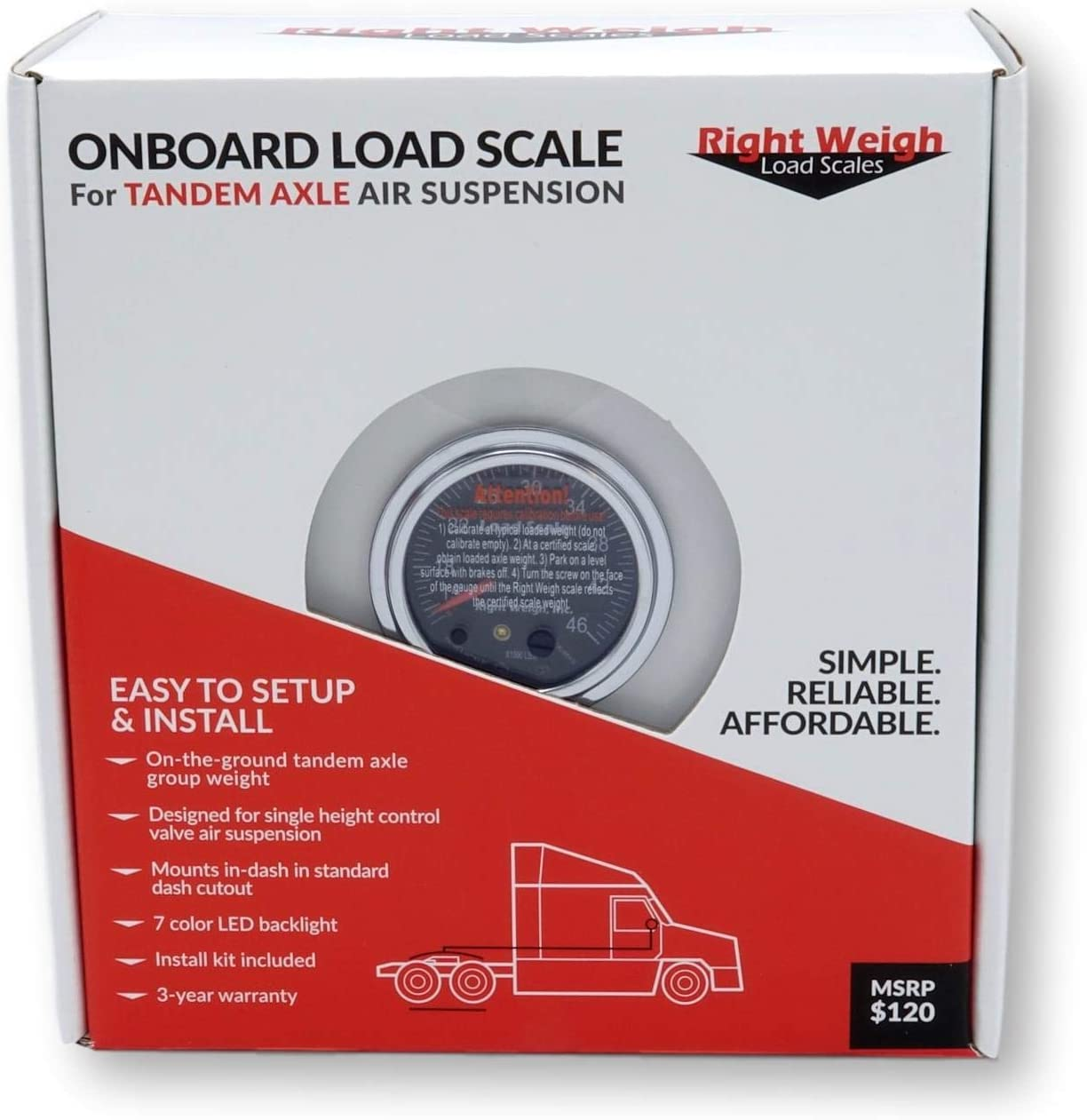 Right Weigh 250-HKANT40K-FF TANDEM Axle Load Scale for Hendrickson Vantraax Air