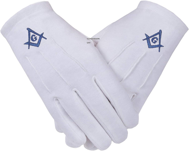 Guantes masónicos de algodón blanco masónicos brújula cuadrada y G en color azul real, tamaño mediano: Amazon.es: Ropa y accesorios