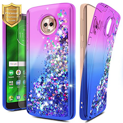 Moto Z Play Case w/[Tempered Glass Screen Protector], NageBee Glitter Liquid Quicksand Waterfall Floating Flowing Sparkle Shiny Bling Girls Cute Case for Motorola Moto Z Play Droid -Purple/Blue