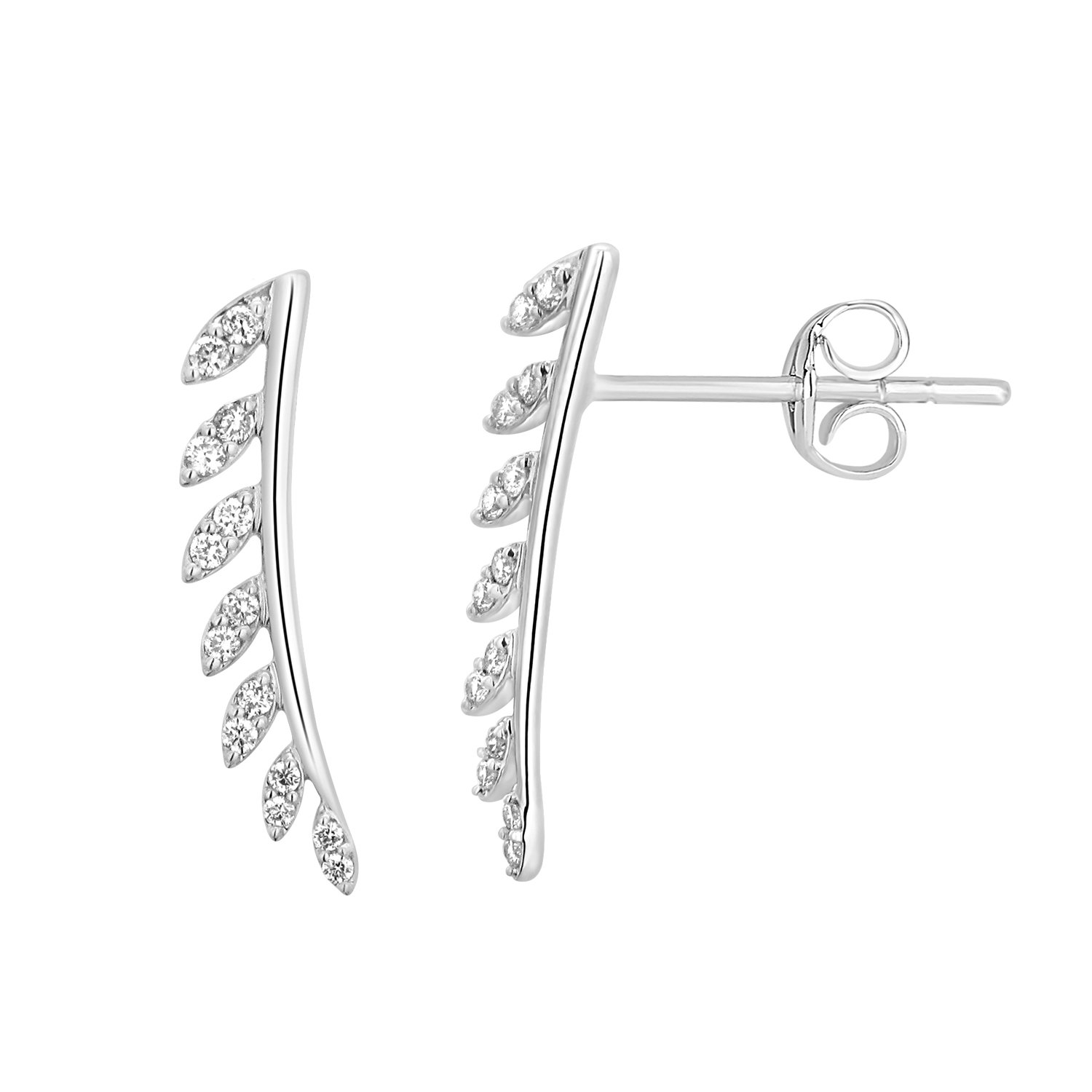 1/4 cttw Round Real Natural Diamond Ear Crawlers Climbers Earrings 14k Gold (white-gold)