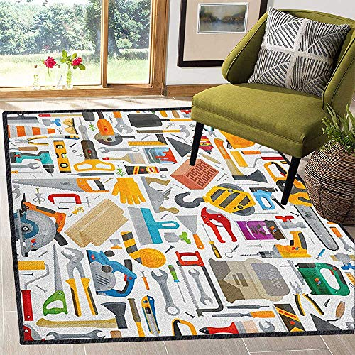 Construction Abstract Design Area Rug,Construction Tools in Cartoon Style Engineering Fixing Repairing Building Provides Protection and Cushion for Floors Multicolor 59