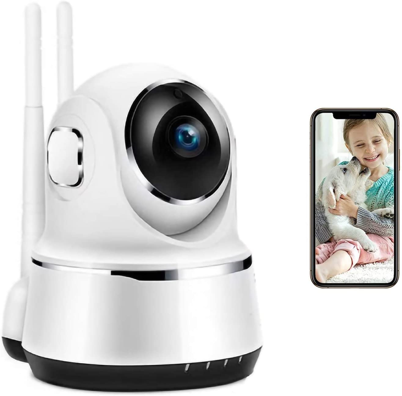 Wireless Indoor Camera Home Security System WiFi Security Camera Video Audio Monitor Baby with Night Vision Motion Detection 2-Way Audio for Pet/Baby/Nanny