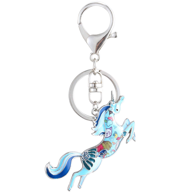 Luckeyui Cute Horse Keychains Gift Women Blue Enamel Horse Charm Keyrings