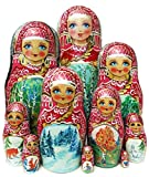 Four Seasons Nesting Doll 10-Piece Babushka Nature Landscapes Russian Stacking Doll in Doll Babushka Toy Set