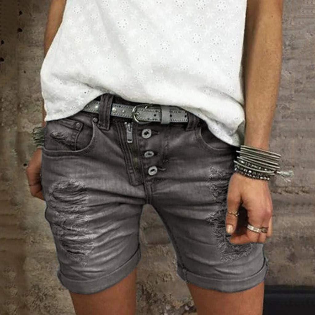 WINJIN Short Jean Femme Short Casual Vintage Bermuda Chic Ete Pantalon Court Denim D/échir/és