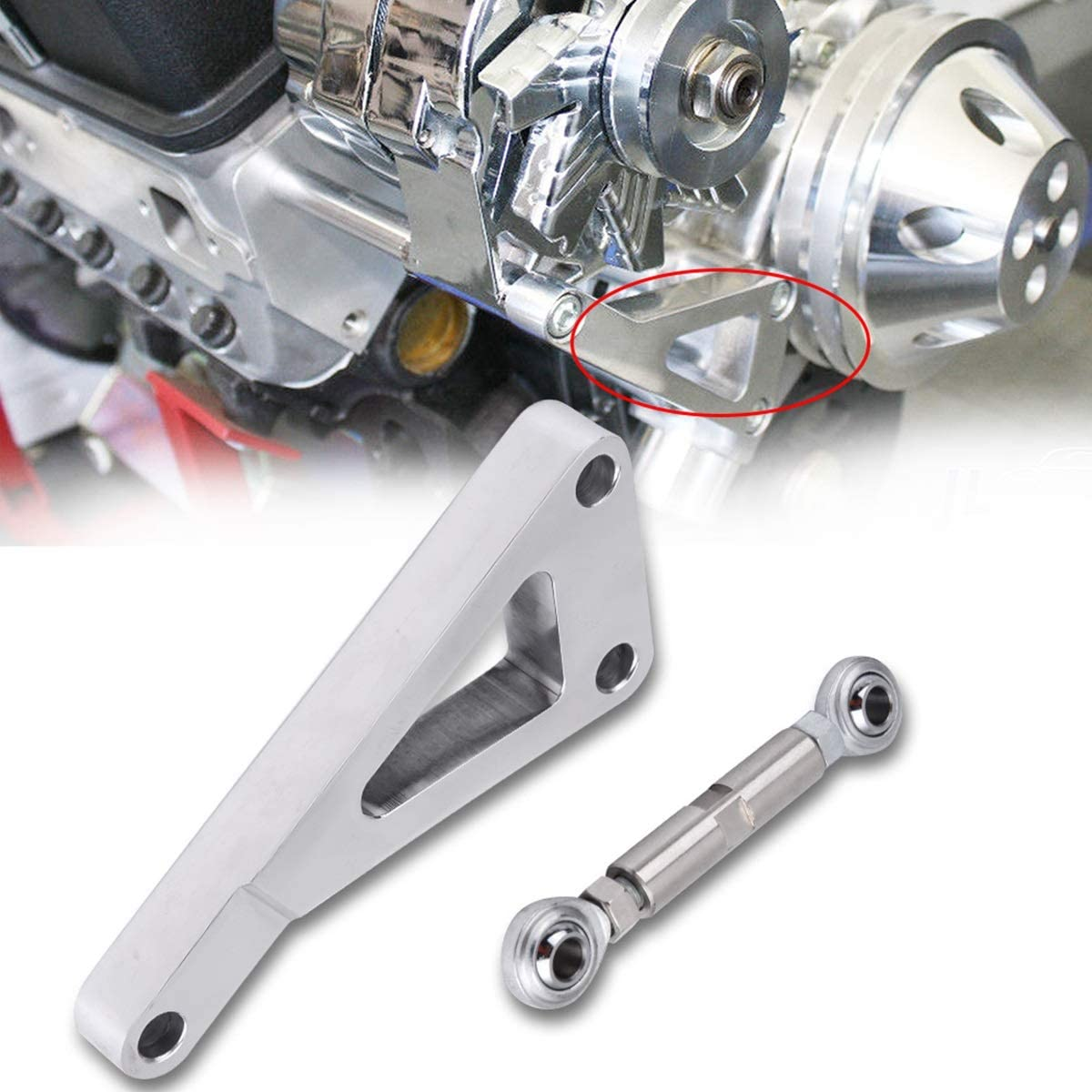 DEALPEAK Automotive Polished Aluminum Alternator Bracket Kit Water Pump Lwp Bracket Set for Car Chevy SBC 350