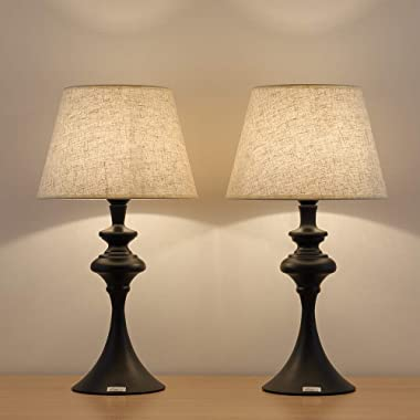 HAITRAL Set of 2 End Table Lamps - Traditional Elegant Nightstand Light Lamps with Fabric Line Shade, vintage Accent Lamps for Bedside Table, Office, Living Room, Ideal Gifts