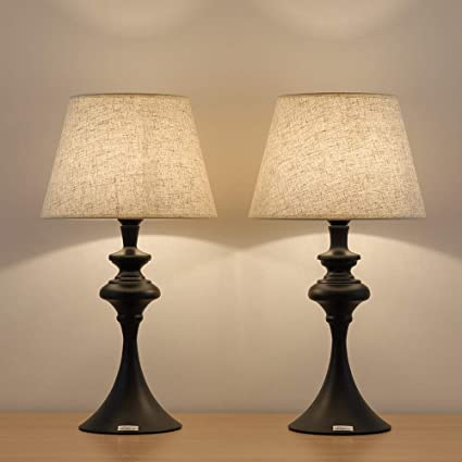 ab77fafbc8310 HAITRAL Set of 2 End Table Lamps - Traditional Elegant Nightstand Light  Lamps with Fabric Line