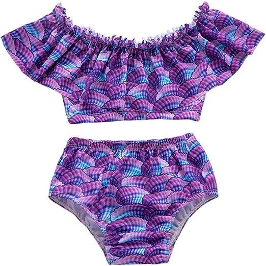 US Toddler Baby Kids Girl Mermaid Bikini Swimsuit Swimwear Bathing Suit Swimming