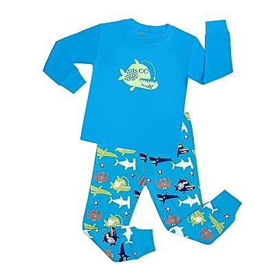 Boys Pajamas Cotton Long Sleeves Toddler Clothes Fish Kids Pjs Sleepwear 2 Piece