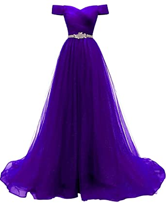 bed8d52f1a Women s A-line Tulle Prom Dresses Off The Shoulder Formal Evening Ball Gown( Purple