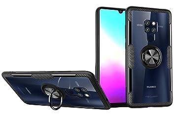 SORAKA Funda para Huawei Mate 20 X,Transparente Carcasa con Soporte para Anillo,Compatible con Soporte Móvil Coche Magnético