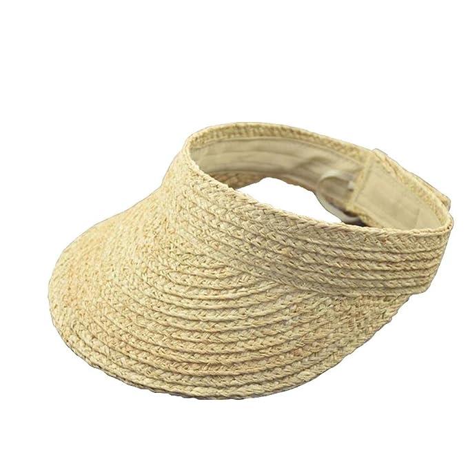 navigatee Sombrero para el Sol - Sombrero Grande Plegable de Paja para  Mujer Sombrero Deportivo para Sol al Aire Libre Viaje en Escalada de Playa   ... abd086b28fd