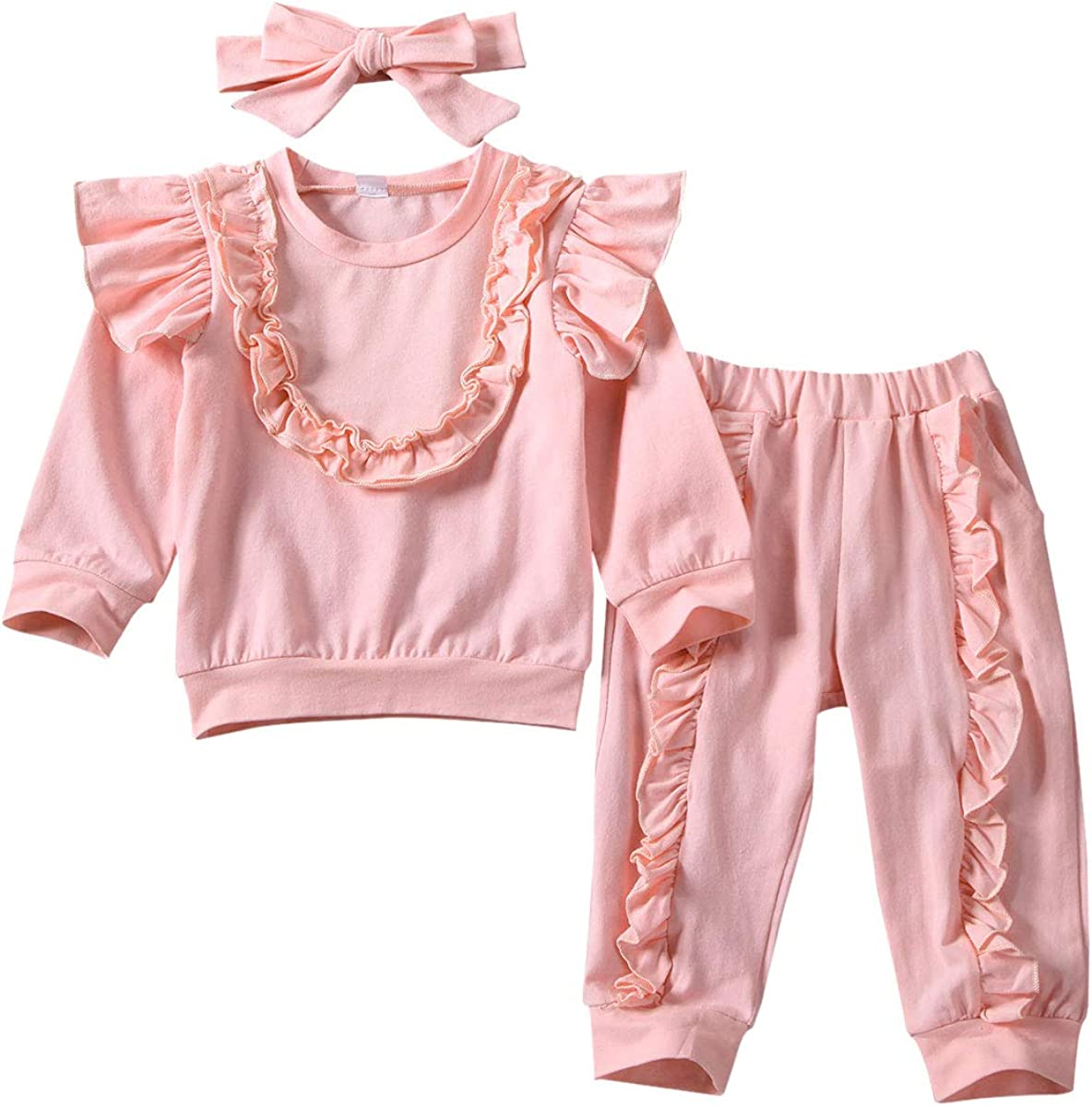 Toddler Baby Girls Ruffle Long Sleeve Tops Pant Outfits Clothes Set Tracksuit US
