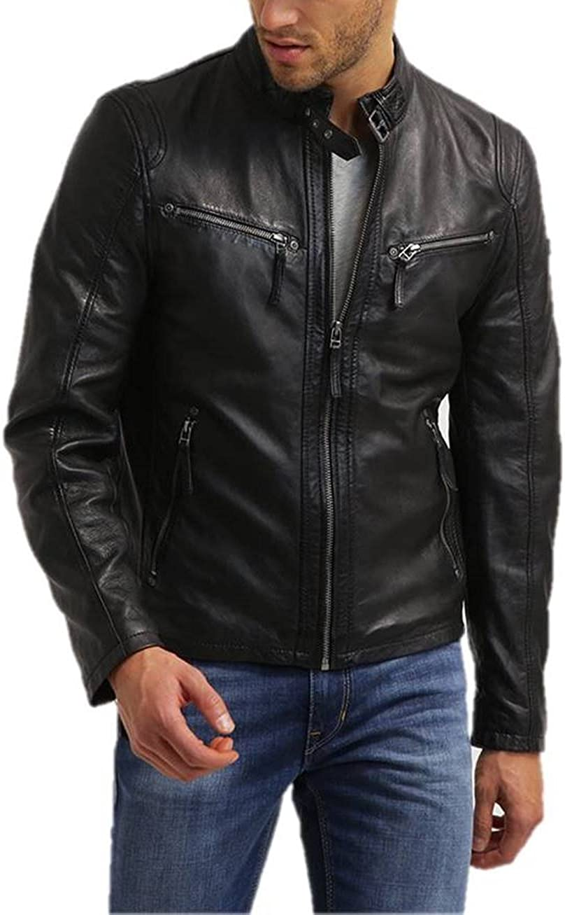 Mens Leather Jacket Bomber Motorcycle Biker Real Lambskin Leather Jacket for Mens Black