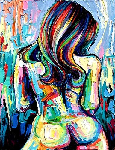 Abstract Nude Art Print Wild Flower Colorful Female Figure Contemporary Poster by Aja choose size and type of paper